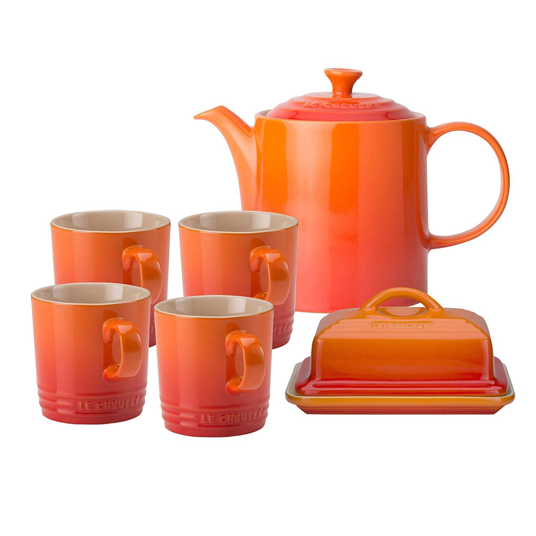 Le Creuset stoneware set. 4 Coffee Mugs, 1 Grand Teapot and 1 Butter Dish, Volcanic, Stoneware. £77.60 @ Amazon