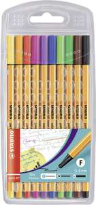 Fineliner - STABILO point 88 Wallet of 10 Assorted Colours £2.50 Prime / £6.99 Non Prime at Amazon