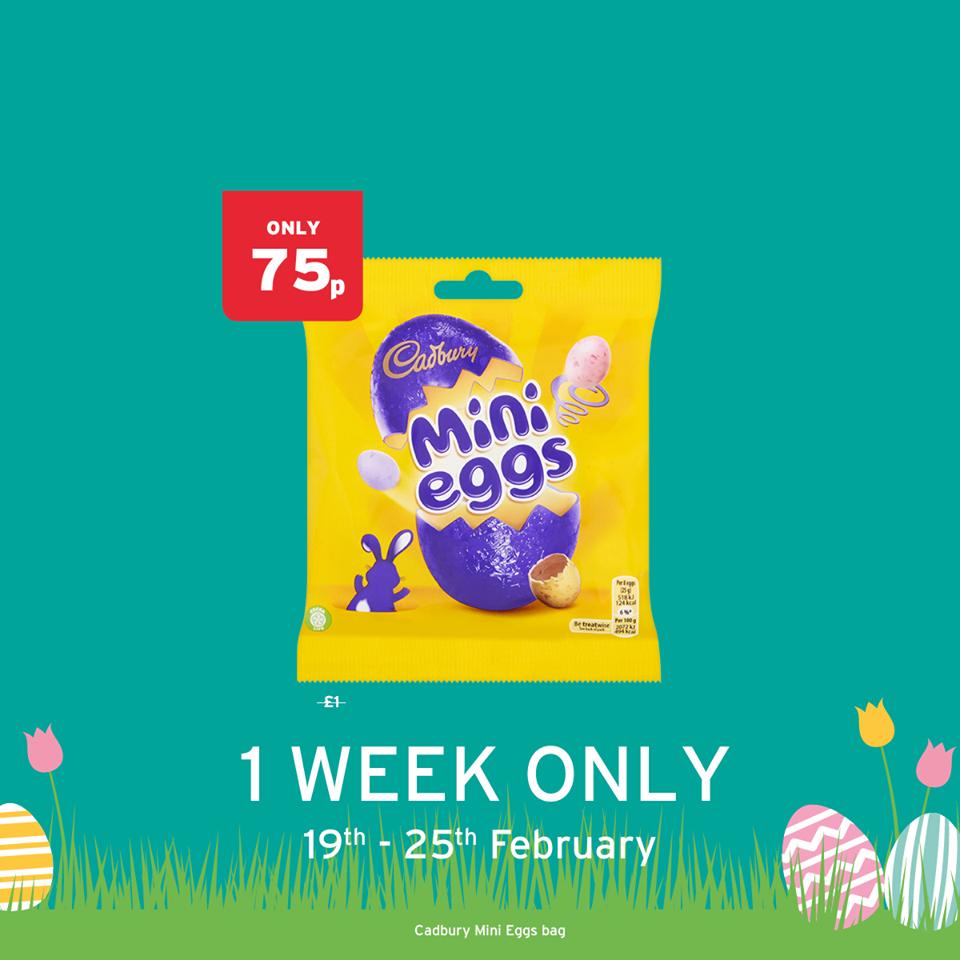 Cadbury Mini Eggs Bag 75p @ Onestop