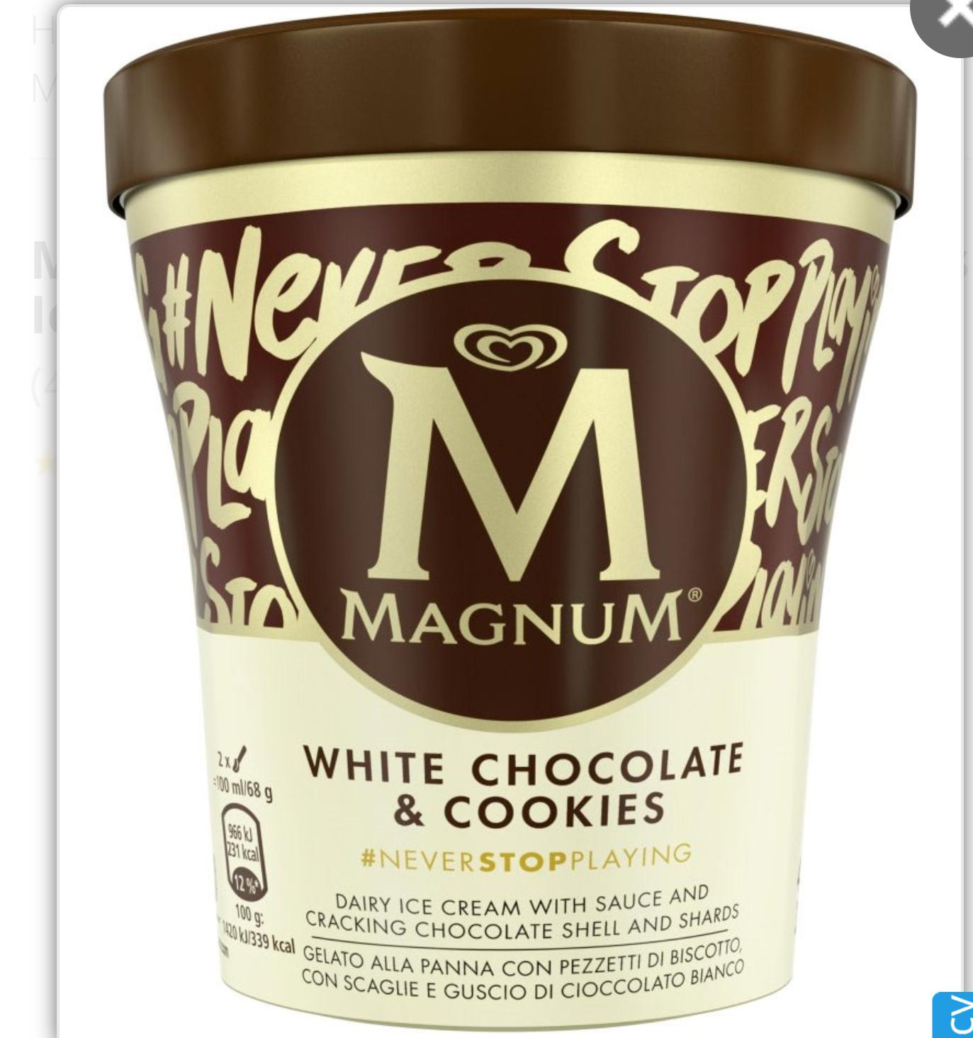 Magnum Tub White Chocolate & Cookies Ice Cream 440ml - £2 @ Sainsbury's