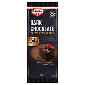 Dr Oetker Fine Cooks White chocolate, Milk chocolate, Dark Chocolate 150G £1 @ Tesco