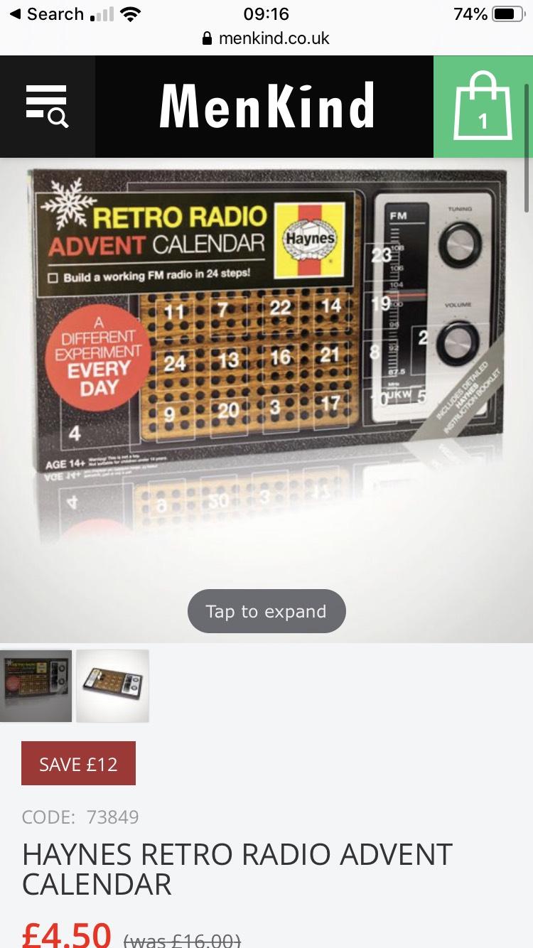 Haynes Retro Radio Advent Calendar - Build your own radio £4.50 @ MenKind (Free C&C)