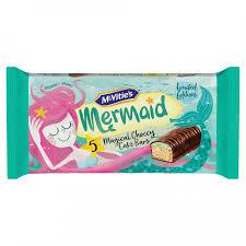 5 Mcvities Mermaid, Magical Choccy Cake Bars. Limited Edition. 59p Heron Foods Abbey Hulton.