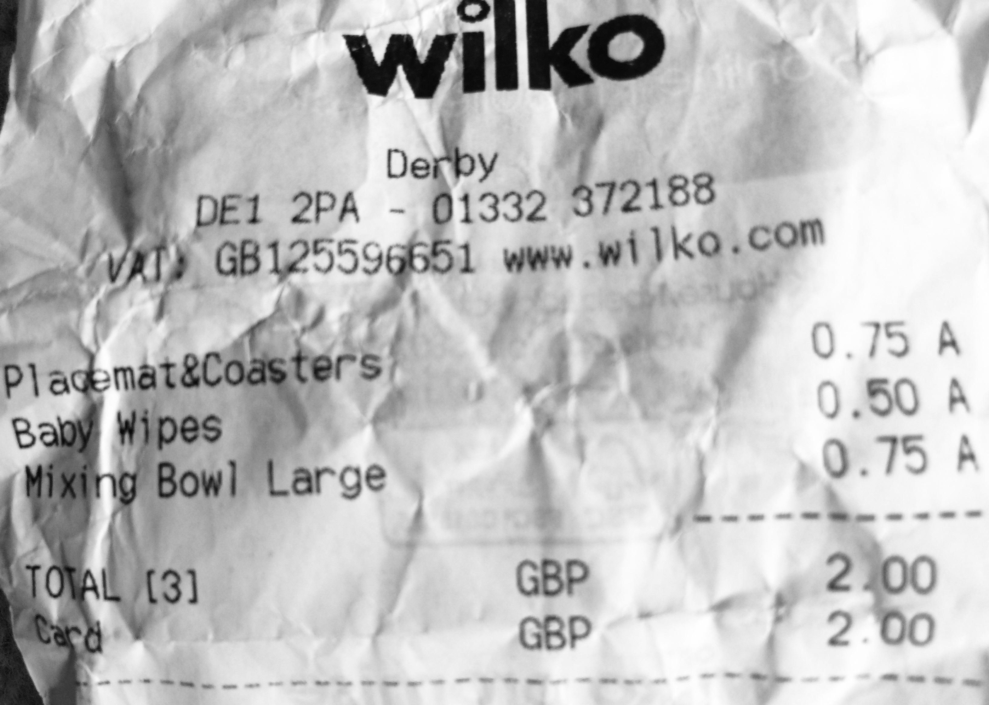 Wilkinson's placemats 0.75p at Wilko Derby
