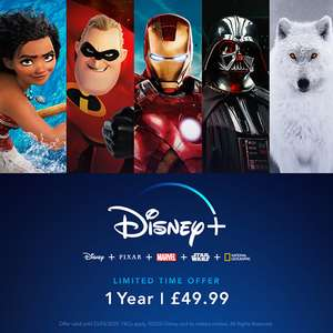 Ends Today! Disney+ Limited offer for one off cost (whole year) up to 4 screens at once for £49.99