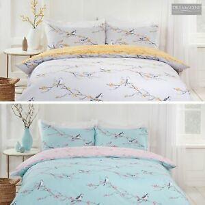 Dreamscene Blossom Bird Quilt Cover with Pillowcase Bedding Set Grey Blush Ochre - £9.50 @ onlinehomeshop ebay