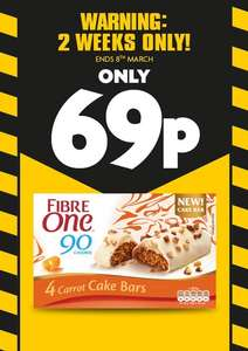 Fibre One Carrot Cake Bars 69p @ Heron Foods