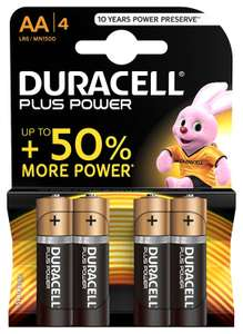 Duracell Plus Power Type AA Alkaline Batteries, Pack of 4 £1.48 (Prime) £5.97 (Non-Prime) @ Amazon