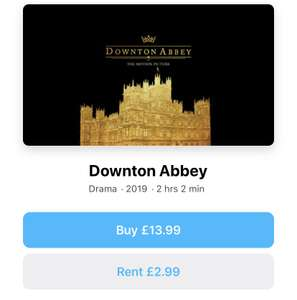 Downtown Abbey iTunes rental £2.99 at Apple Store
