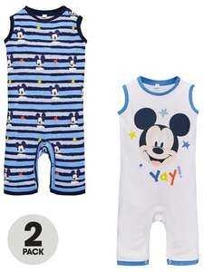 Mickey Mouse Baby Boys 2 Pack Rompers £5.22 (£2 Click & Collect) @ Very