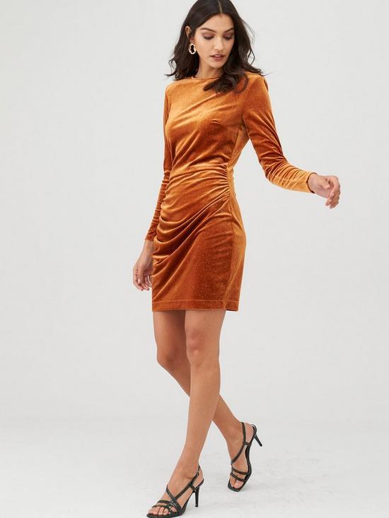 V by Very Velvet Glitter Jersey Mini Dress - Mustard £8.12 (£2 Click & Collect) @ Very