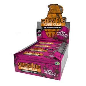 Grenade Carb Killa High Protein and Low Carb Bar, 12 X 60 g, Dark Chocolate Raspberry £14.99 prime / £19.48 non prime at Amazon