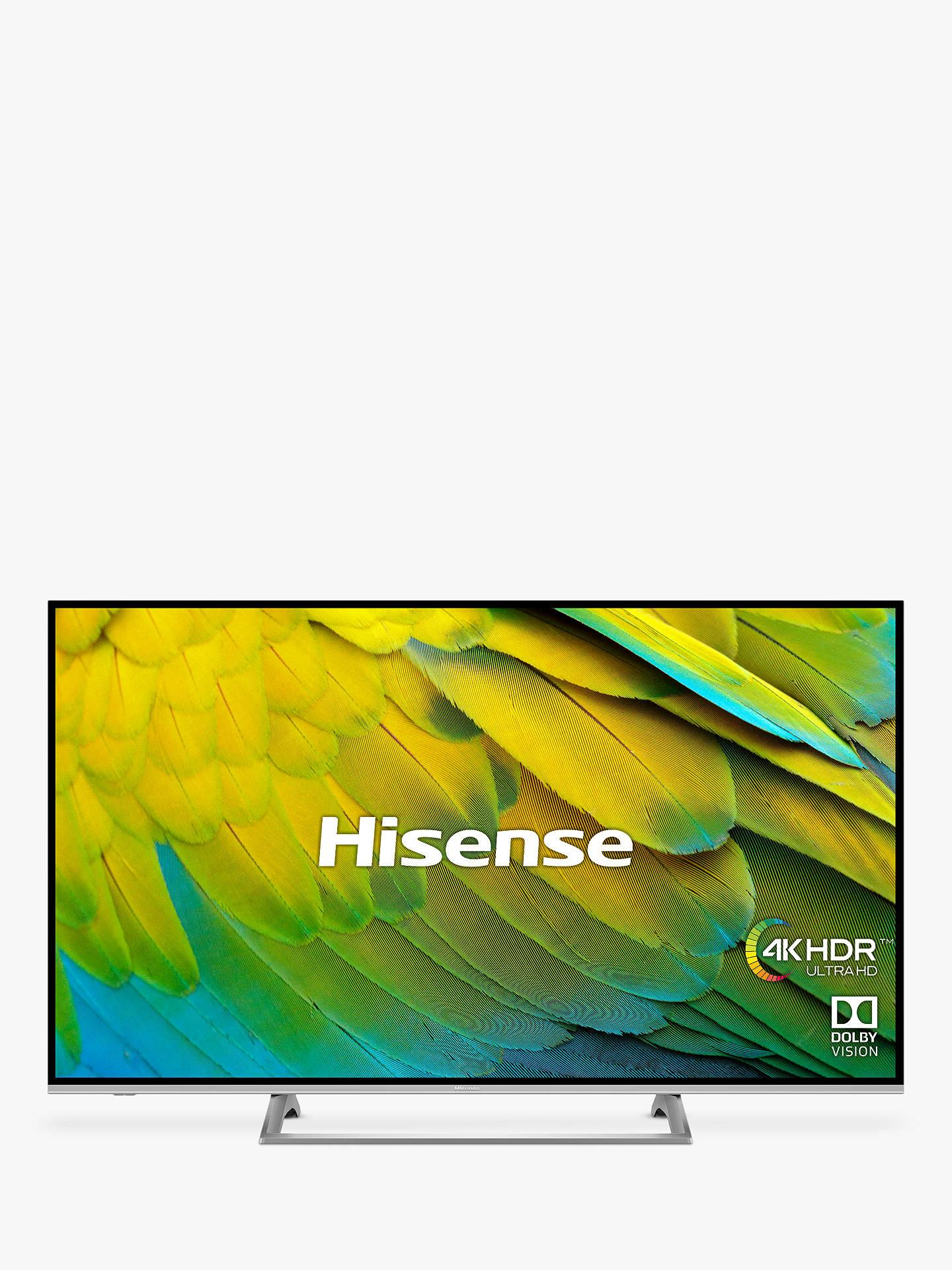 "Hisense H43B7500UK (2019) LED HDR 4K Ultra HD Smart TV, 43"" with Freeview Play, Black/Silver £279 John Lewis & Partners"