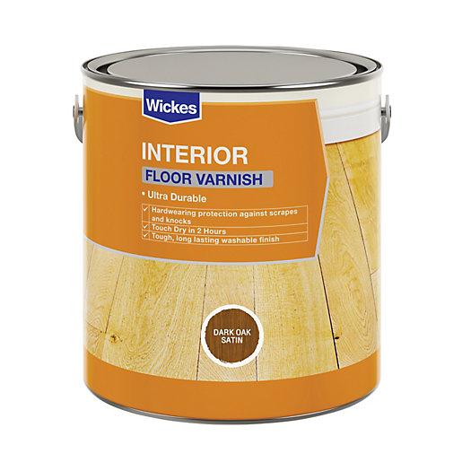 Wickes Floor Varnish - Dark Oak Satin 2.5L - £3 + Free Click & Collect @ Wickes