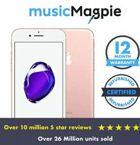 Apple iPhone 7 32GB O2 Network Rose Gold Refurbished 4G Smartphone Good Condition £111.99 MusicMagpie / Ebay