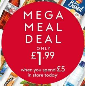 Boots Mega Meal Deal only £1.99 when you spend £5 instore - Main + Drink + Snack