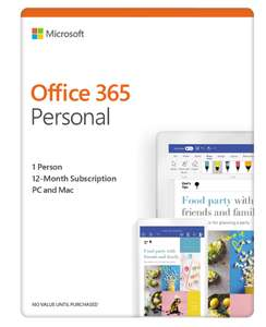 Microsoft Office 365 Personal Digital Download for 1 User - Annual Subscription £35 at AO.com