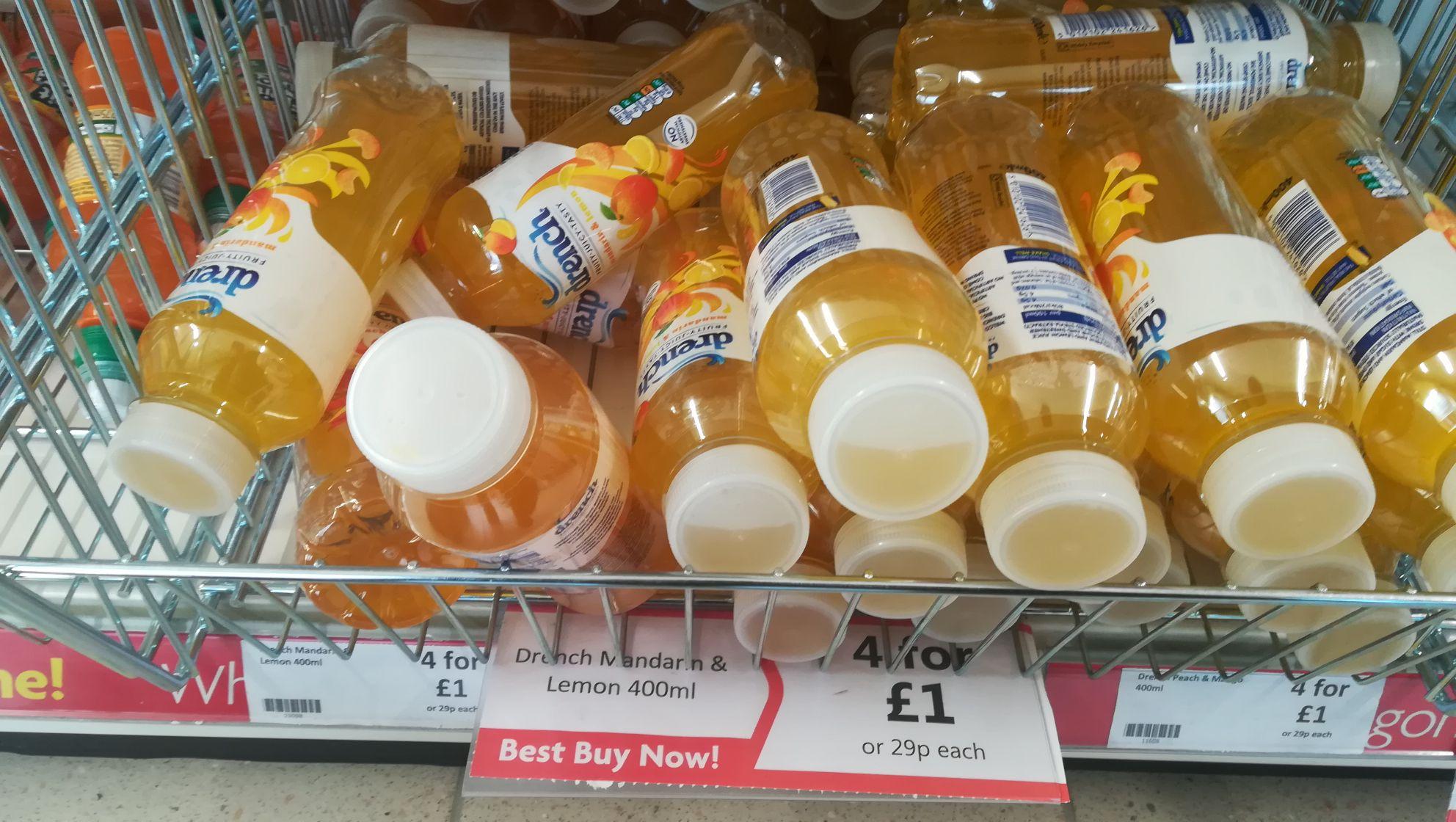 Drench Mandarin & Lemon 400ml - 4 bottles for £1 - Heron Foods Newport, South Wales