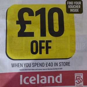 £10 off £40 spend in Iceland voucher in Chronicle & Informer Free Newspaper today