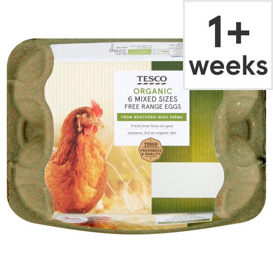 Tesco Mixed Sized Organic Eggs 6 Pack - £1.25