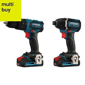 Erbauer EID18-LI / ECD18-LI-2 EXT Cordless Drill Twin Pack PLUS Additional 2Ah 18v Battery £150 @ B&Q (£135 with Clubcard 10% Discount)