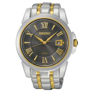 Seiko Men's Two-Tone Solar Powered Stainless Steel Bracelet Watch, £129.99 at H.Samuel with code