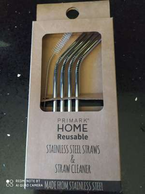 Home 4 reusable stainless steel straws with straw cleaner £2.50 @ Primark (Leeds)