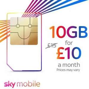 10GB of data unlimited calls / texts for £10 p/m - £120 @ Sky (5G is INCLUDED in this for sky VIP customers)