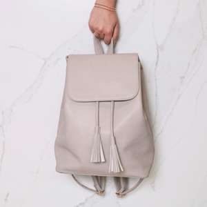 Lisa Angel VEGAN LEATHER Stone Grey Fold Top Backpack £8.70 w/ Free Delivery