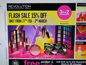 """Flash sale- 15% off selected Revolution at Superdrug- stacking with """"3 for 2"""" offers and a free revolution palette when you spend £15"""