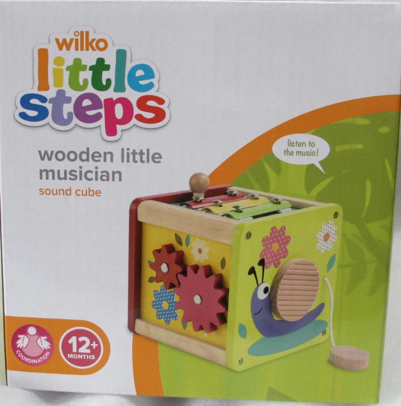 Wilko Little Steps Wooden music sound cube £1 wilkos bexleyheath