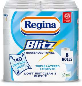 Regina Blitz Household Towels - Pack of 4, Total 8 now £8 (Prime) + £4.49 (non Prime) at Amazon
