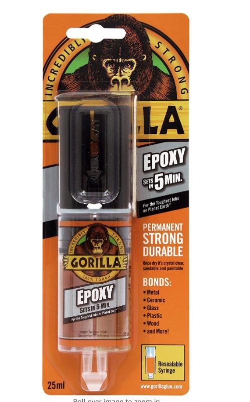 Gorilla 5 min epoxy glue - £2.50 in Tesco (Cowley, Oxford)