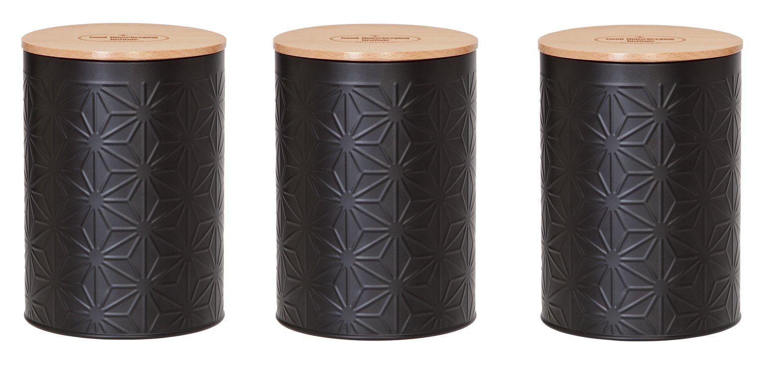 Good Housekeeping Set of 3 Steel Storage Jars - Black - £11.99 @ Argos