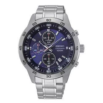 Seiko Blue Chronograph Dial Stainless Steel Bracelet Watch - £134.99 @ H Samuel