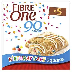 4 Boxes of Fibre One Limited Edition 90 Calorie Birthday Cake Squares 5x24g (£1.25 each) £5.00 at Amazon (+£4.49 non-Prime)
