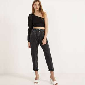 High waist trousers with belt loops in Black or Khaki now £12.99 @ Bershka (Free Click & Collect)