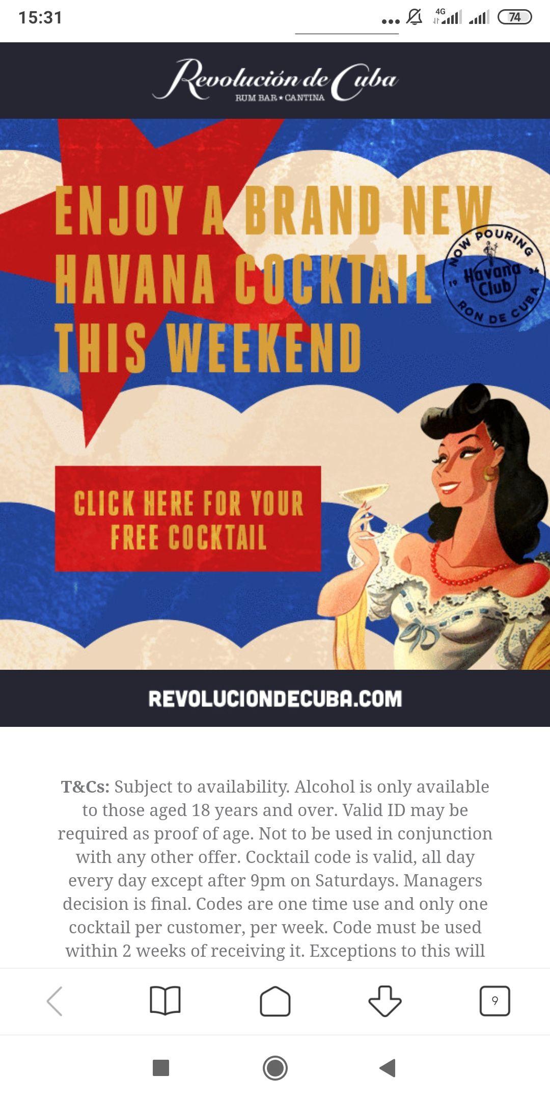 Free cocktail at Revolution de Cuba