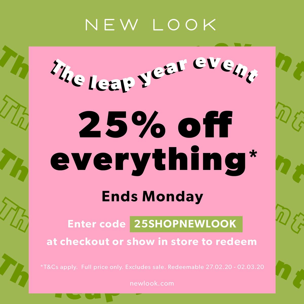 25% off everything @ NewLook
