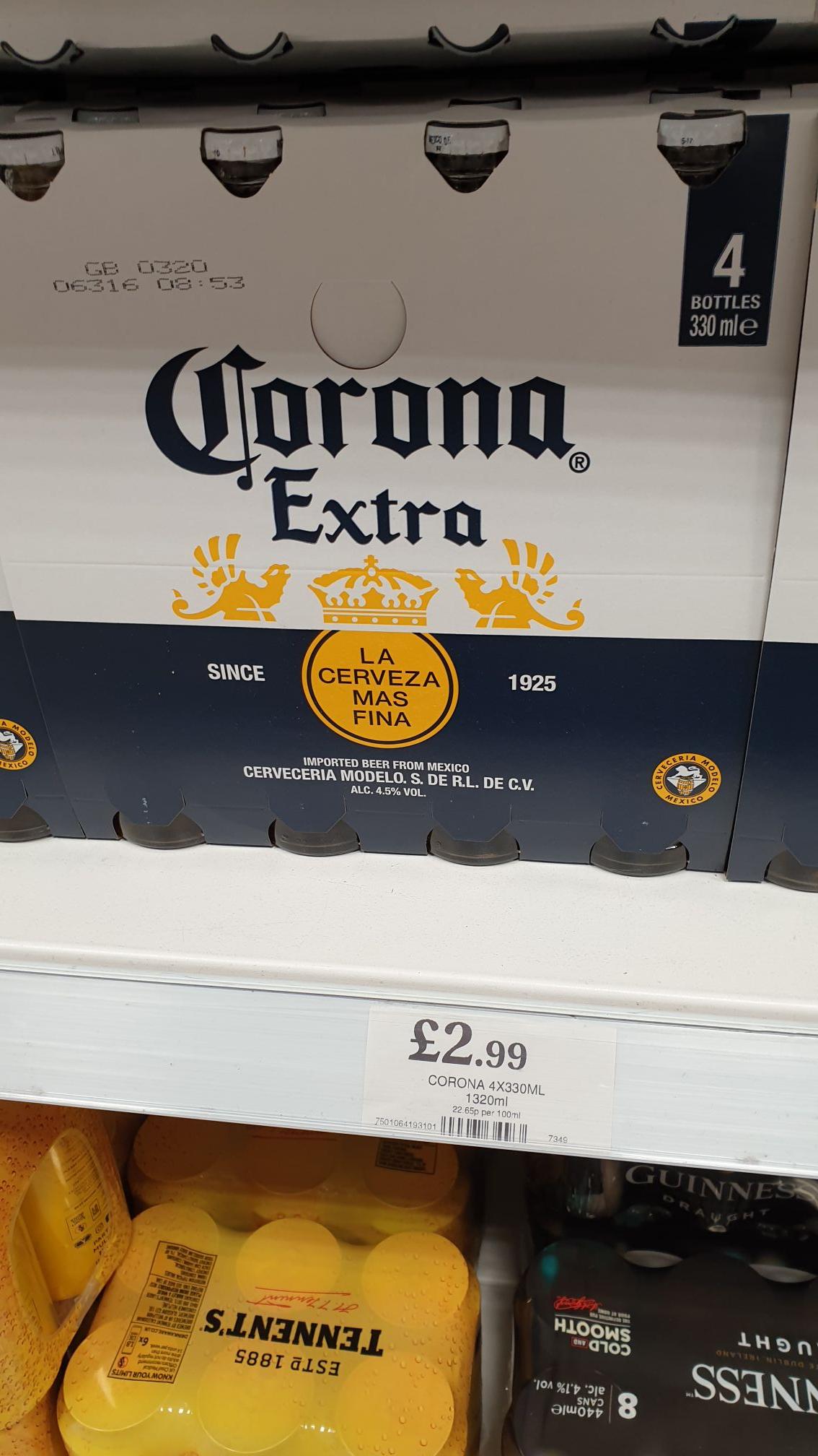 Corona 330ml 4pk £2.99 at Home Bargains Peterhead, Aberdeenshire, Scotland