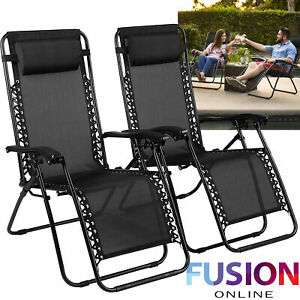 Zero Gravity Chair Sun Lounger Outdoor Garden Folding Reclining Adjustable x2 - £43.99 delivered @ Fusion Online / eBay