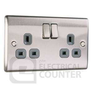 Brushed Stainless Steel Double Plug Socket Switched (2 Gang) £4.00 delivered @ Electrical Counter