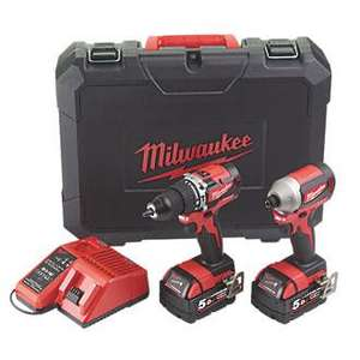 MILWAUKEE M18 CBLPP2A-502C 18V 5.0AH LI-ION REDLITHIUM BRUSHLESS Cordless Combi Drill & Impact Driver Twin Pack - £249.99 @ Screwfix