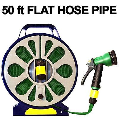 50ft Flat Garden Hose Pipe Spray Gun Nozzle With Stand Hobby Gardening £5.99 at unlimitedseller eBay