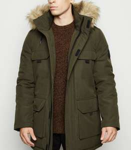 Khaki Hooded Faux Fur Trim Parka Coat - £22 + free delivery @ New Look
