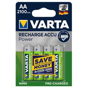 Varta Ready2Use Rechargeable Batteries AA / AAA Pack of 4 + 2 year guarantee - £4.99 (Free Click & Collect) @ Screwfix