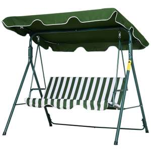 Outsunny Garden Outdoor 3-Person Metal Porch Swing Chair Bench w/ Canopy Green - £48.59 @ outsunny / eBay
