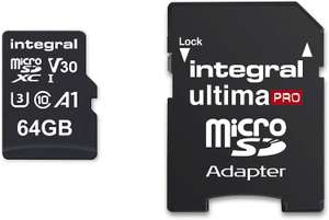 Integral 64GB micro SD card 4K video Premium High Speed memory card microSDXC Up to 100MB/s £8.97 (Prime) £13.46 (Non Prime) @ Amazon