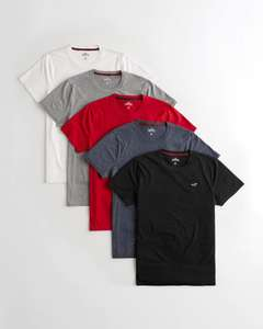Must-Have Crewneck T-shirt 5-pack £19.87 + £5 delivery (Extra 20% off added in bag) @ Hollister