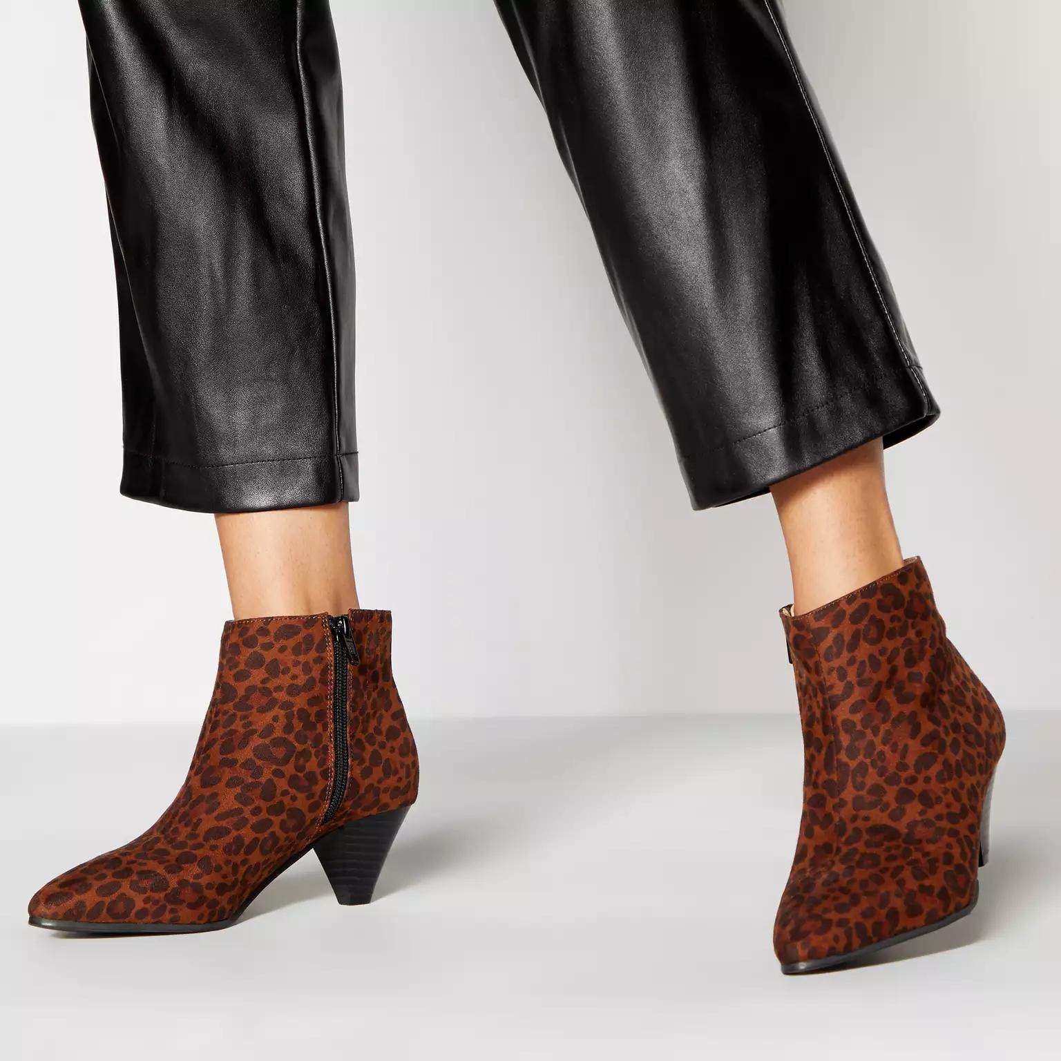 Principles Leopard Print Faux Suede Peg Heel Ankle Boots £10.50 + Free click & collect @ Debenhams